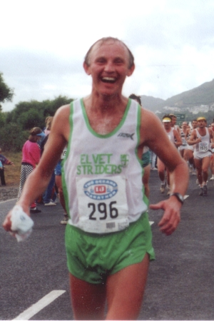 Barrie finishing the Two Oceans in 1990.