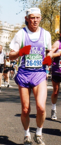 Barrie running the London Marathon in 2005.