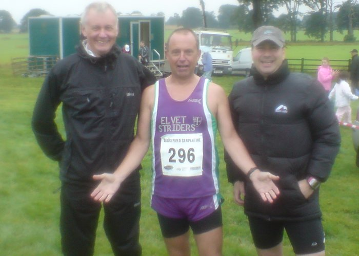 Three Striders, dimly visible through the murk, prepare for the off.