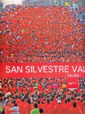 A sea of runners competing in a previous year's San Silvestre Vallecana.