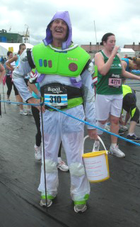 Buzz Lightyear at the finish!