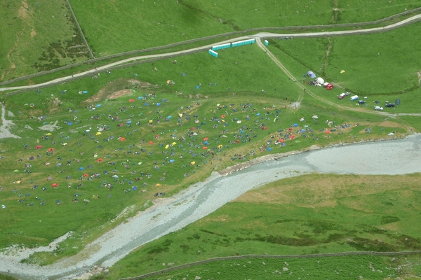 Birds-eye view of the overnight campsite.