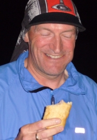 Geoff and a Cranstons sausage roll.