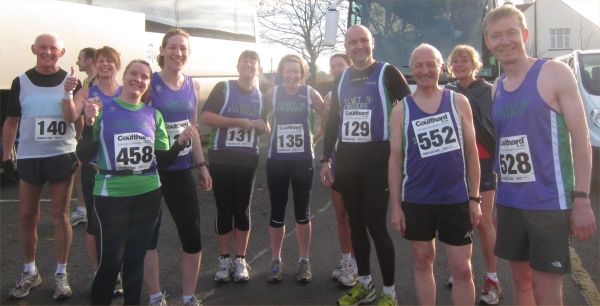 Happy Striders before the off, confident that their luggage, at least, was safe and sound.