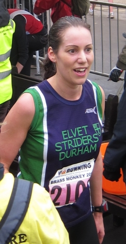 Lindsay, looking somewhat incredulous at making it to the finish ...