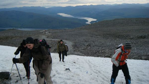 Emma and friends climbing Ben Nevis