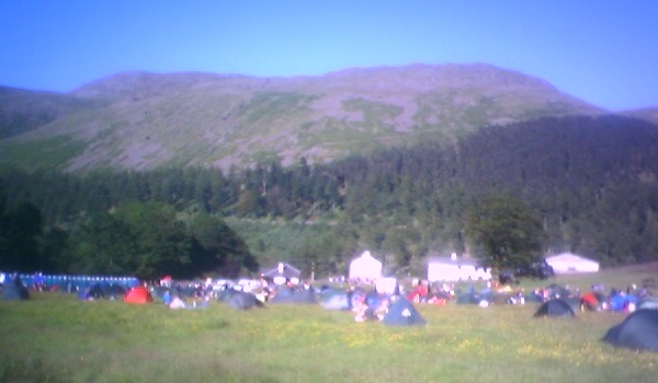 Overnight campsite at Steel End. Fuzzy picture, due to the refractive index of midges being quite high.