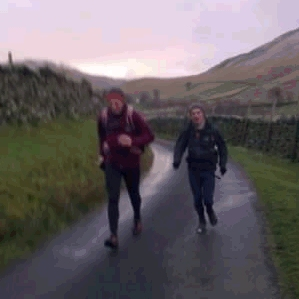 Two old blokes jogging up Boardale.