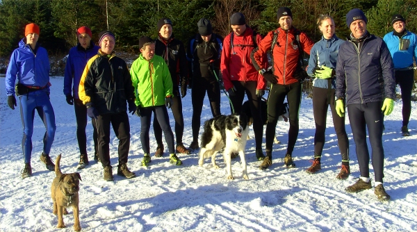 Friendly bunch of DFR runners, guests and dogs. Nigel's here too, taking the photographs.