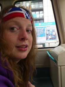 Jacquie on the DLR ...