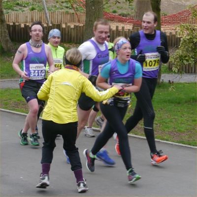 Runners being accosted by an overenthusiastic spectator ...
