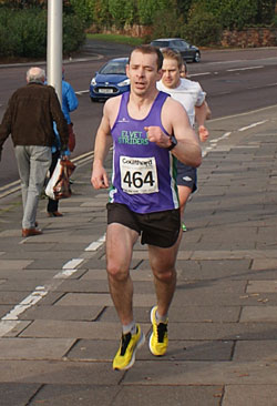 Gareth speeds towards a sub-60 minute finish at the Brampton to Carlisle road race 2014