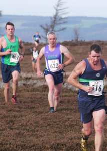 Scott Watson heads for the last trig point at Guisborough 3-Tops Fell Race 2014