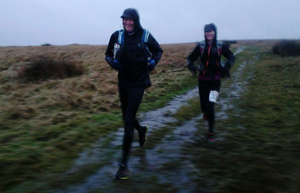 Dave and Mel at the finish of the Hardmoors Goathland Marathon