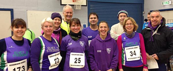 Elvet Striders gather in the sports hall 