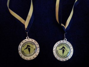 Two elegant medals.