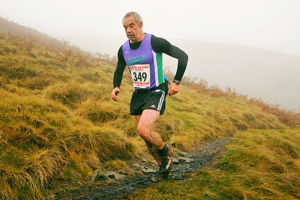 Ascending Ogden Clough in the mist in the 2014 Tour of Pendle
