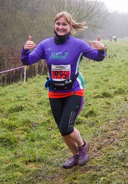 A muddy but fast course posed no problems for Claire Galloway!