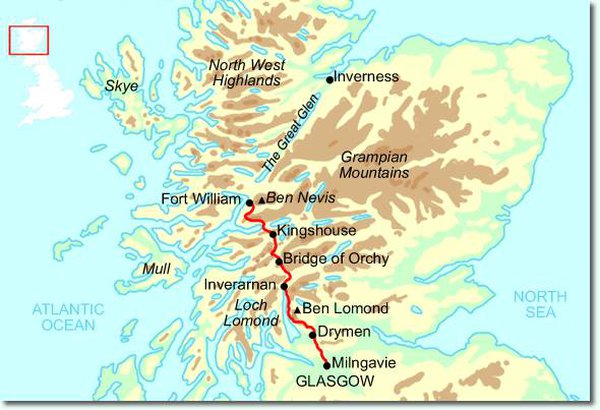 The route of the West Highland Way Race.