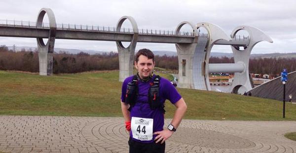 Mark in front of the Falkirk Wheel at the Glasgow to Edinburgh Ultramarathon 2015