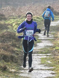 Lucy clearly enjoying a great race at the Hardmoors Osmotherley Half Marathon 2015