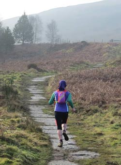 The view that most of the field had of Penny at the Hardmoors Osmotherley Half Marathon 2015