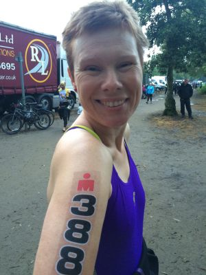 Photo of Debs with number printed on right arm.