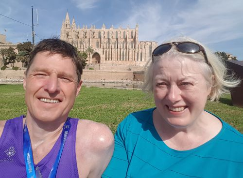Dougie and Roberta being photobombed by a sodding big cathedral.