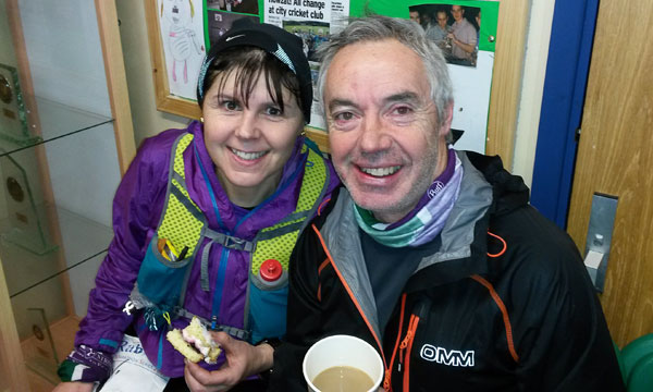 Diane and Scott at celebrate the finish of the first of the Rab Mini Mountain Marathons 2016