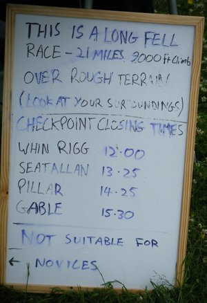 Event Organisers Whiteboard showing race terms and conditions.