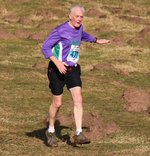 Mike pauses his descent to try and pat down a few mole hills - from 2014